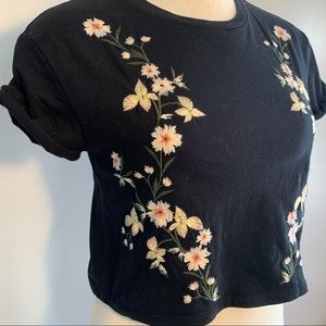3/$30 Topshop Crop Top Floral Embroidered T-Shirt